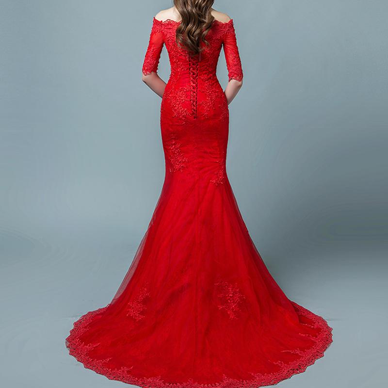 Custom Long Boat Neck Trailing Wedding Dresses Red Lace Floral Appliques Sleeveless Mermaid Bridal Dress