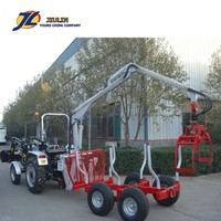Hot sale forest tractor towable PTO hydraulic timber trailer , 3 tons wood trailer with crane by jiulin made in china