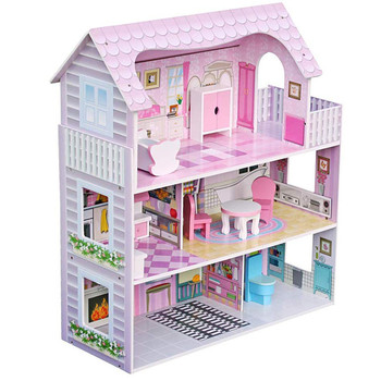 Fashion Kids Large Pink Furniture Toy Big Wooden Doll House