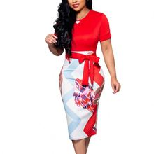 Summer Fashion Red Waist Knot Patchwork High Rise Midi Tight Women Sexy Bodycon Dress