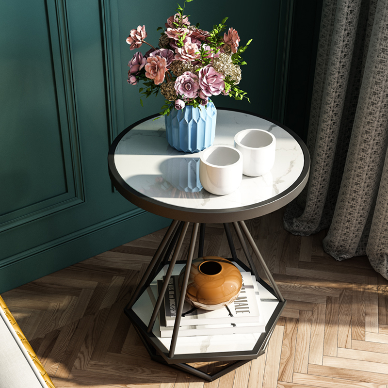 Modern stainless steel frame coffee table living room set white marble top small round table tea