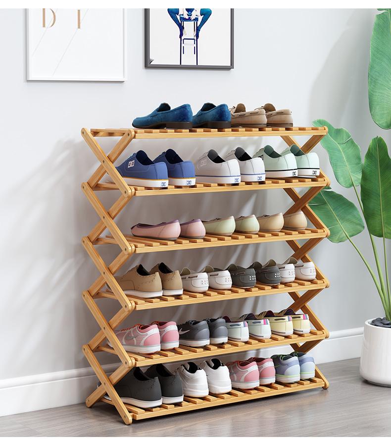 Barato, venta al por Mayor moderno personalizado plegable portátil 2 niveles 6 pares de bambú de madera de zapato Rack para casa macetas y plantador