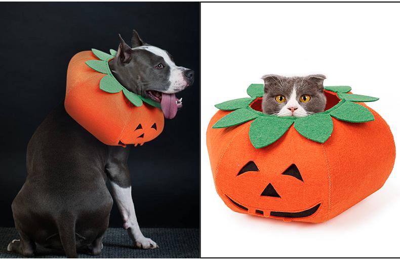 新设计万圣节狗宠物猫角色扮演服装,南瓜设计狗E领cosplay派对装扮