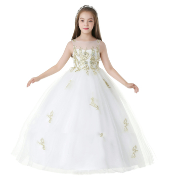 New design summer lace sleeveless embroidery princess party birthday little children kids girls special occasion dresses