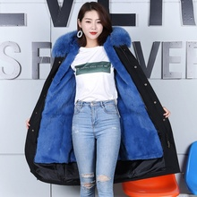 Real Fox Fur Parka Coat New Arrival Women's With Natur Rex Rabbit Fur