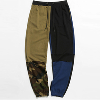 Streetwear high fashion cloth patched long jogger pants sweatpants man