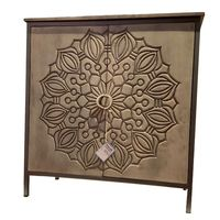 Industrial & vintage Iron & solid mango wood 2 carving door living room cabinet for living room furniture