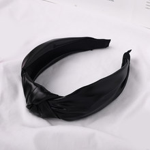 Роскошный простой топ из искусственной кожи, широкая повязка на голову, обруч для волос, винтажные кожаные однотонные аксессуары для волос, ...(Китай)