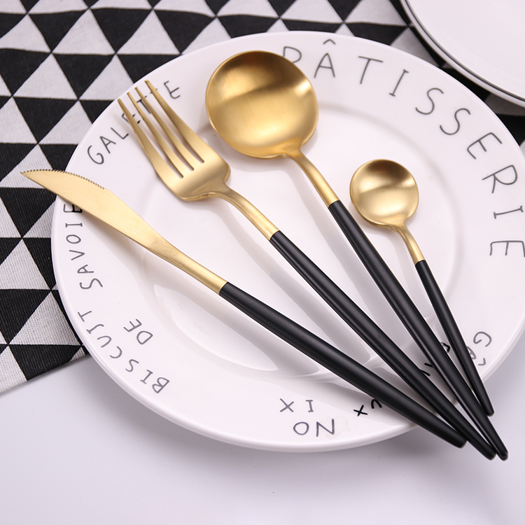 30%OFF Laser Logo Free Hot Sale 304 Black and Gold Western Cutlery Restaurant Stainless Steel Wedding Metal Spoon Fork Cutlery