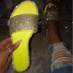 INS EVA hot sale lady beach slide Amazon New style girls diamond Shoes Slippers Women flat sandals