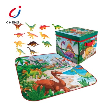 New 2 in 1 kids game toy crawling carpet folding storage box dinosaur play mat