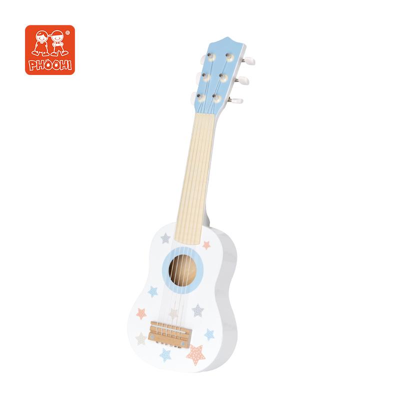 Kinderen Muziekinstrument Spelen 21Inch Witte Gitaar Houten Gitaar Speelgoed Voor Kinderen