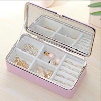 Exquisite leather jewelry box small jewelry storage box with a mirror
