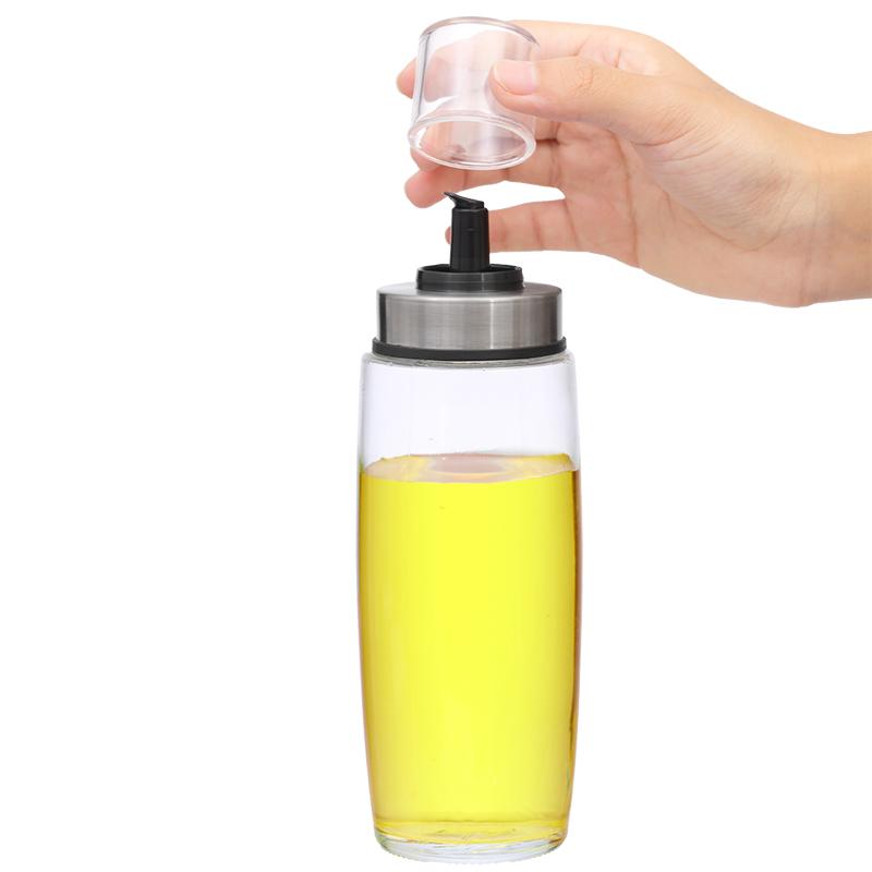 Glass oil bottle and spice jar salad dressing set with rack