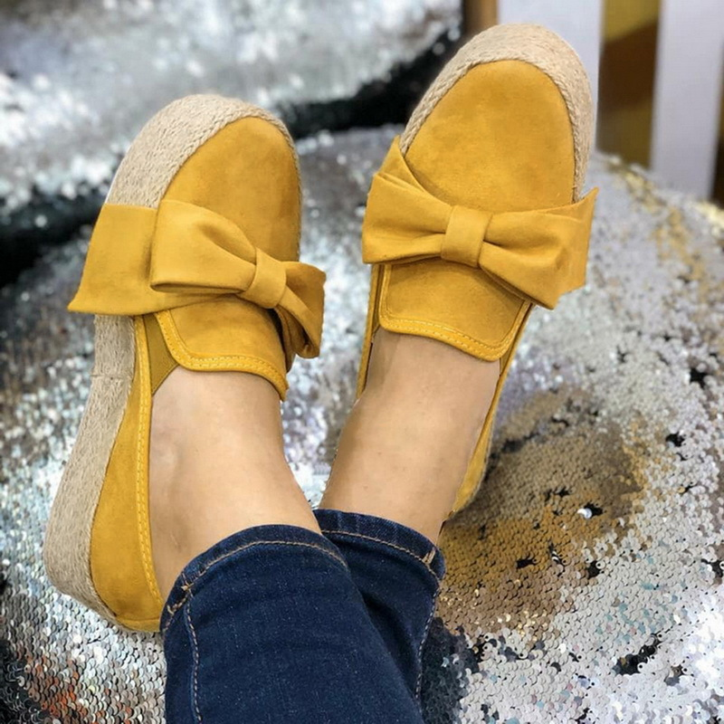Wanita Flat Peron Sepatu Slip On Kasual Sepatu Kanvas Busur Simpul Tebal Bawah Mujer Malas Sepatu Espadrilles Y12419