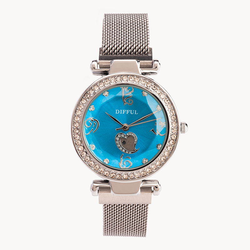 DIFFUL Brand  Fashion luxury 3ATM waterproof stainless steel band lady quartz female watch
