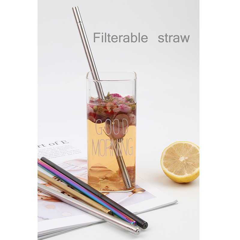 신제품 Eco-friendly FDA 18/8 스테인레스 스틸 텔레스코픽 Filterable 밀짚