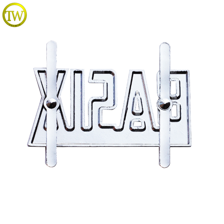 Zinc alloy embossing letter logos brush nickle brand pins metal private label tags for leather handbags