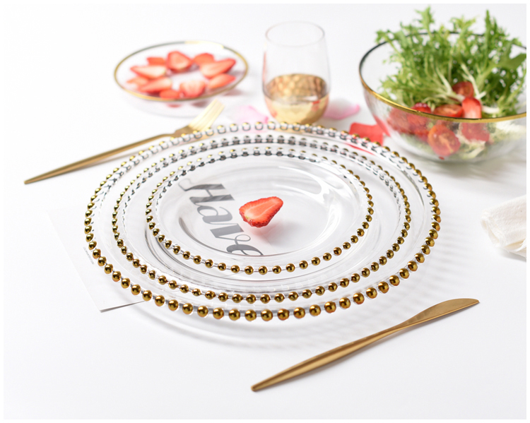 Wedding table accessories new reef colored gold bead glass charger event glass plates for weddings