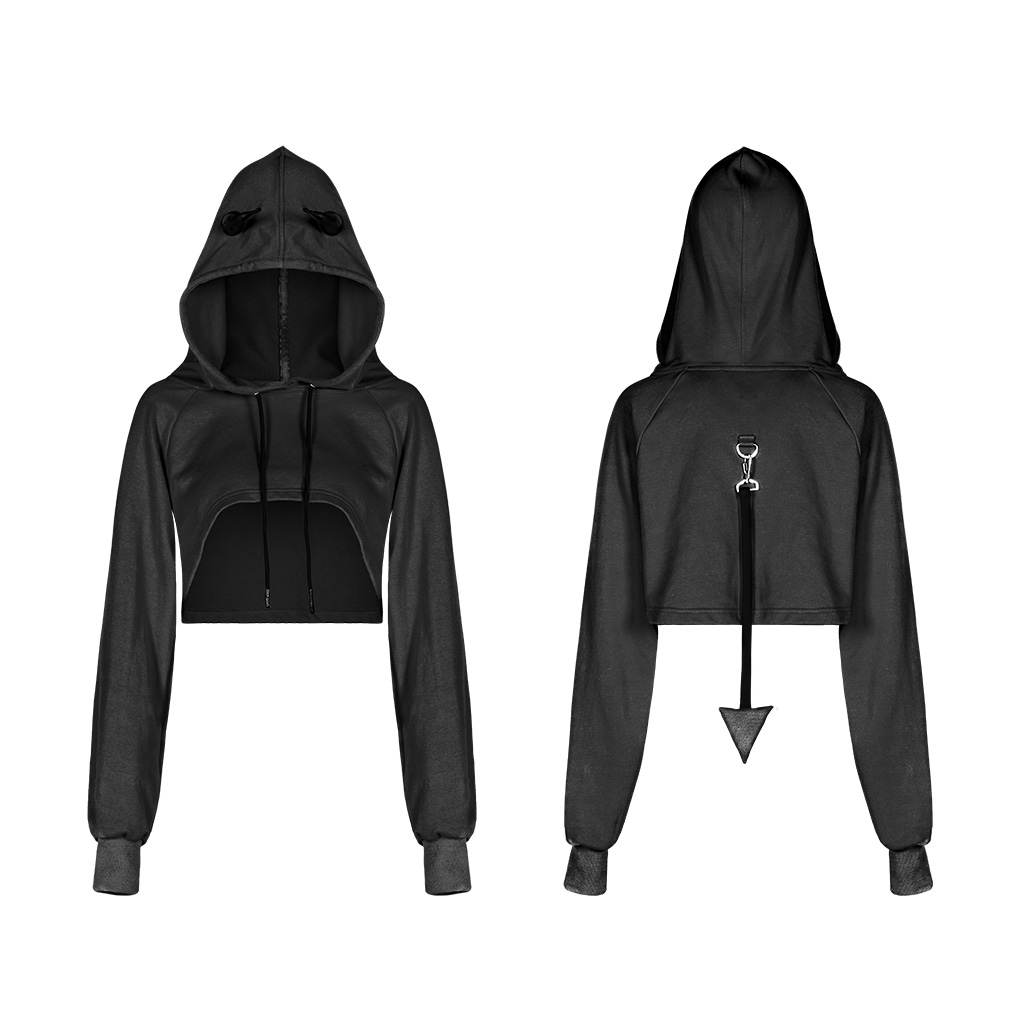 PUNK RAVE fashion sweet hoody jacket short hat hoodies for women winter gothic tops OPT-317