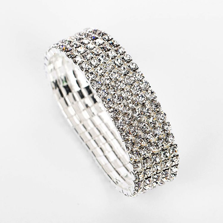 Women's Bracelets Simple Cuff 5 raws Rhinestone Crystal Tennis Bracelet Bangle