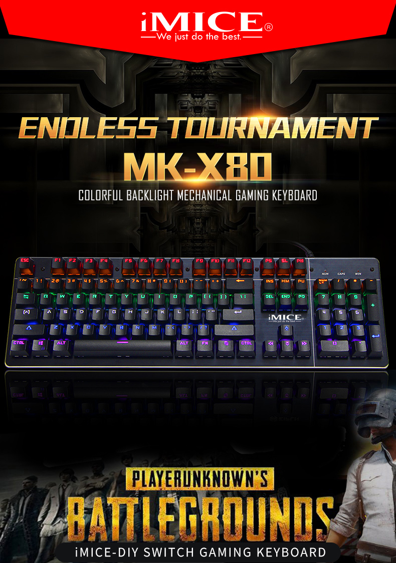 IMICE Factory Brand MK-X80 Usb Wired Professional Gaming Mechanical Keyboard With Changeable Backlit with Blue Stwiches