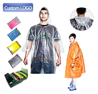 Custom LOGO PE plastic transparent pocket clear disposable & reusable raincoats waterproof rain wear coat poncho for men adults