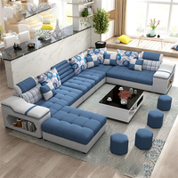 Factory wholesale Living Room Furniture 7 Seater modern European fabric U shaped sectional living room sofas set