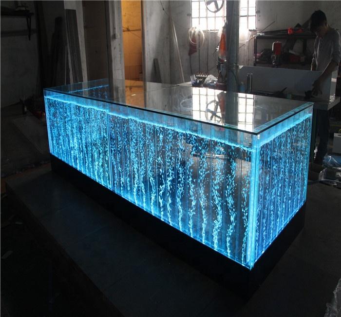 Customized acrylic water bubble fountain LED Bar Counter design