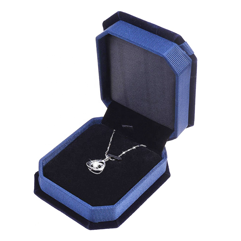 customizable with logo custom high quality modern luxury jewelry gift packaging velvet necklace box