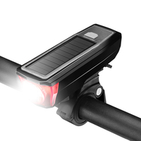 Coolchange USB and Solar Power Bank Bicycle Speaker Front LED Headlight Bell Horn Solar bike front light