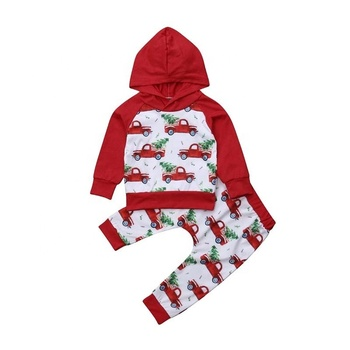 Customized Baby Clothes Sets New Clothing Hooded Car Set Christmas Baby Girls Cartoon Clothes Sets