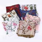 New Fashion FENNYSUN 90*90cm Large Square Wrap Shawls Silk Feeling Polyester Butterfly Flower Pattern Satin Scarves