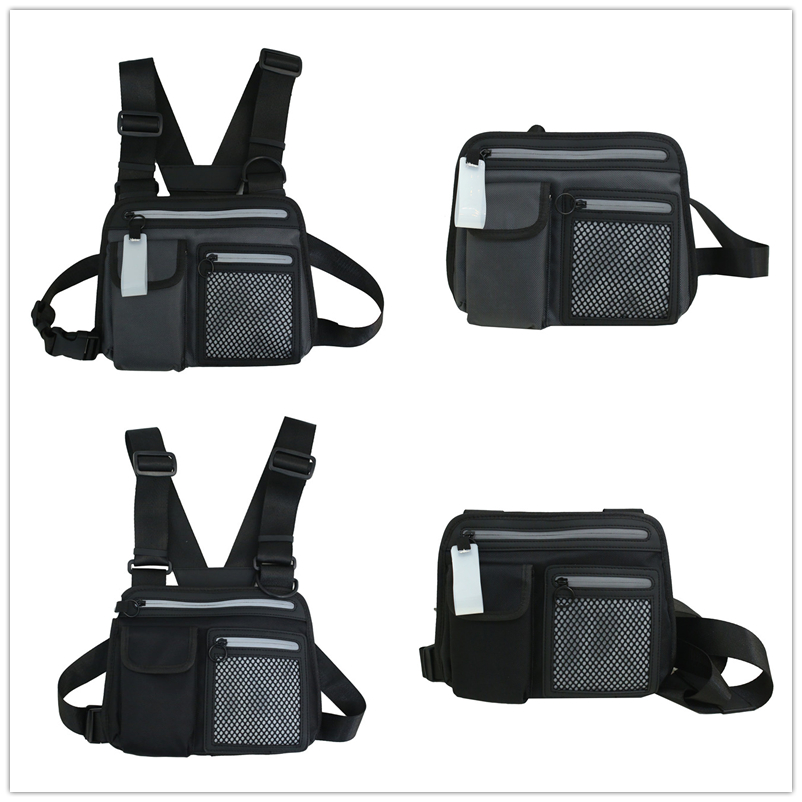 Tactical Bag Men Nylon Hip Hop Streetwear Functional Boy Cross Chest Rig Bag  Dropshipping Custom Tactical Pouch Black Chest Rig