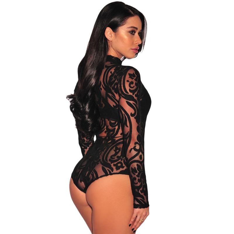 Black Sheer Long Sleeve Mesh Geometric Velvet Women Sexy Lingerie Bodysuit