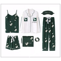 Hot sale products Printed 7-piece pajamas cute pajamas women