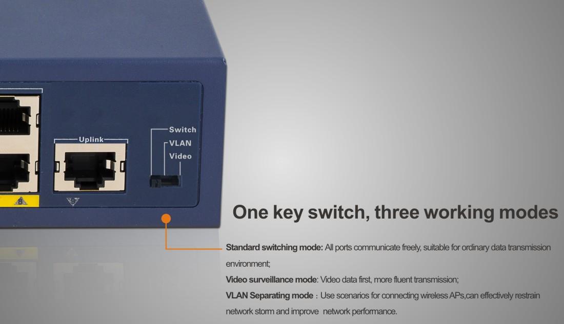 Dijital tüp güç ekran PoE güvenli erişim anahtarları 8 port 1000Mbps 2 Uplink