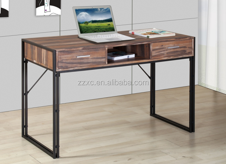 2 Drawers Wooden Writing Desk Study Table Computer Desk for Home Office
