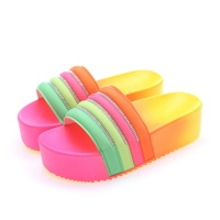 New Design Big size slippers Women platform slides sandal rainbow colorful summer slides slippers sandals shoes women