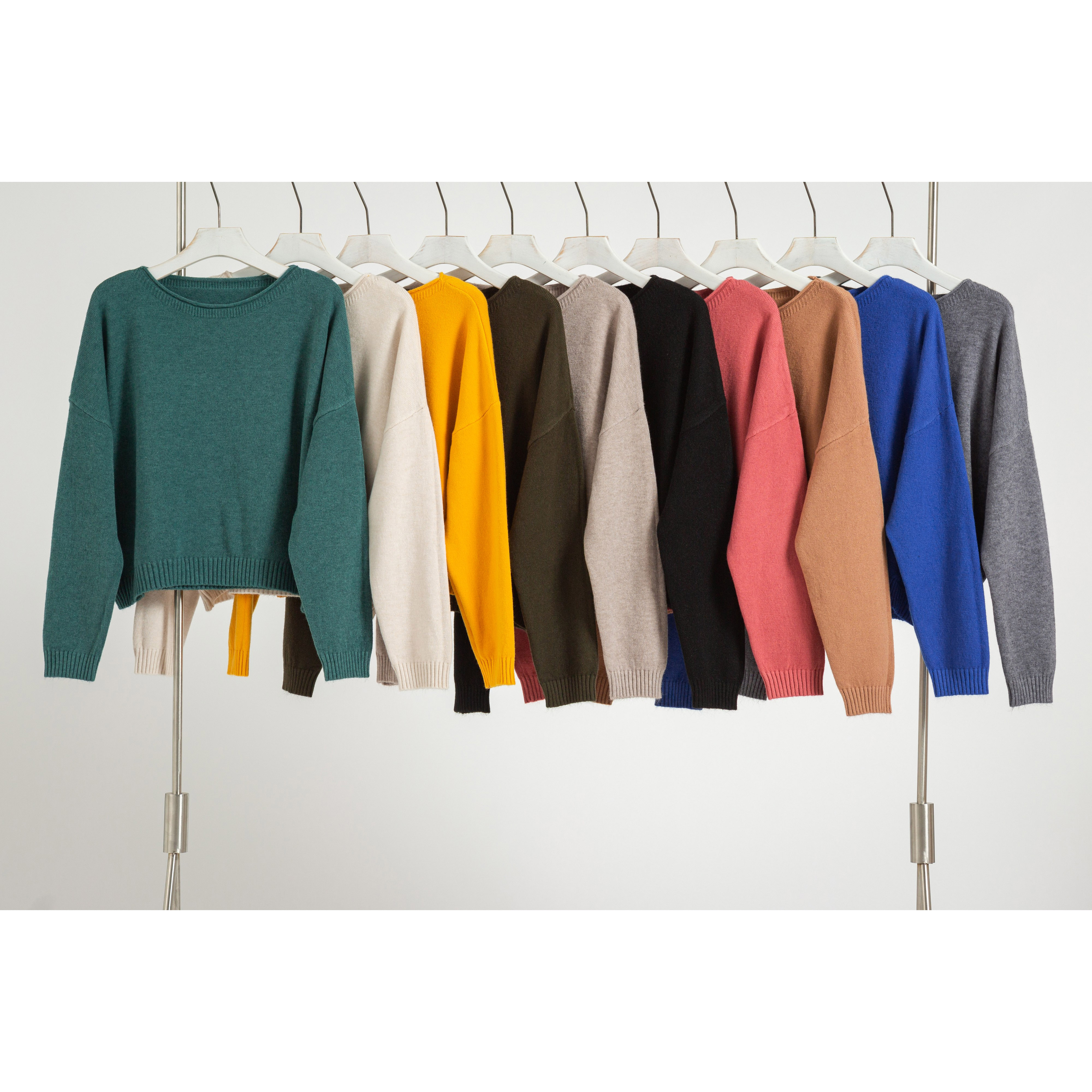 Basic Knit Crop Top Pure Color Contracted Style Round Neck Long Sleeve Pullover Sweater for Women(10 colors)