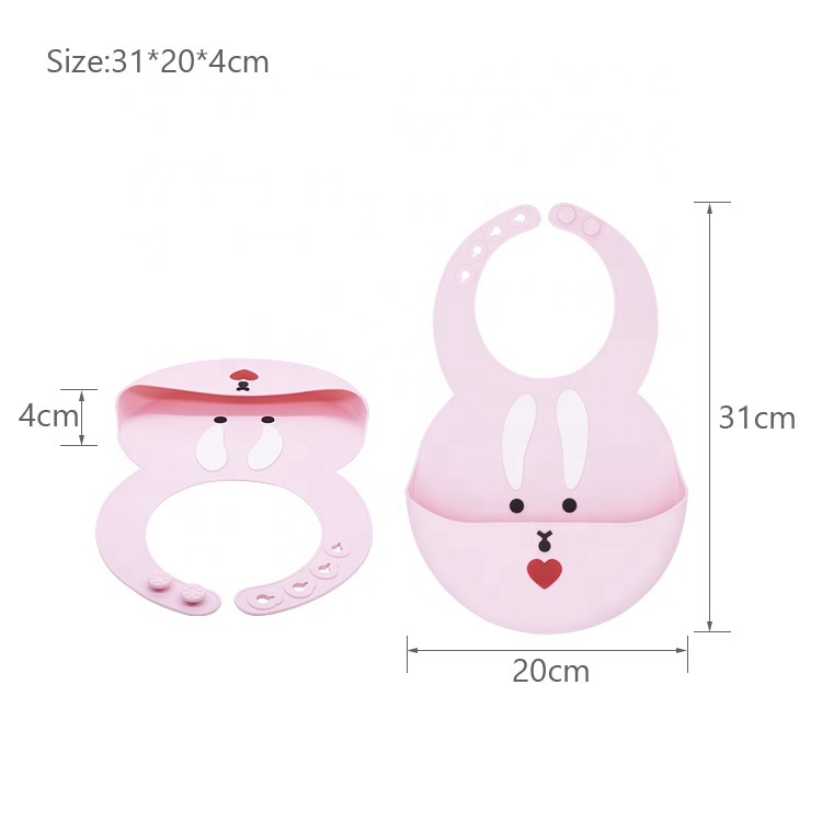 Baby Care 3D Design Animal Printing Foldable Silicone Feeding Bib With Adjustable Strap For Baby 3 To 6 Years Old