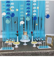 Baby birthday party decoration Oceanic theme Whale water flower string paper hanging Garland Kindergarten Decoration