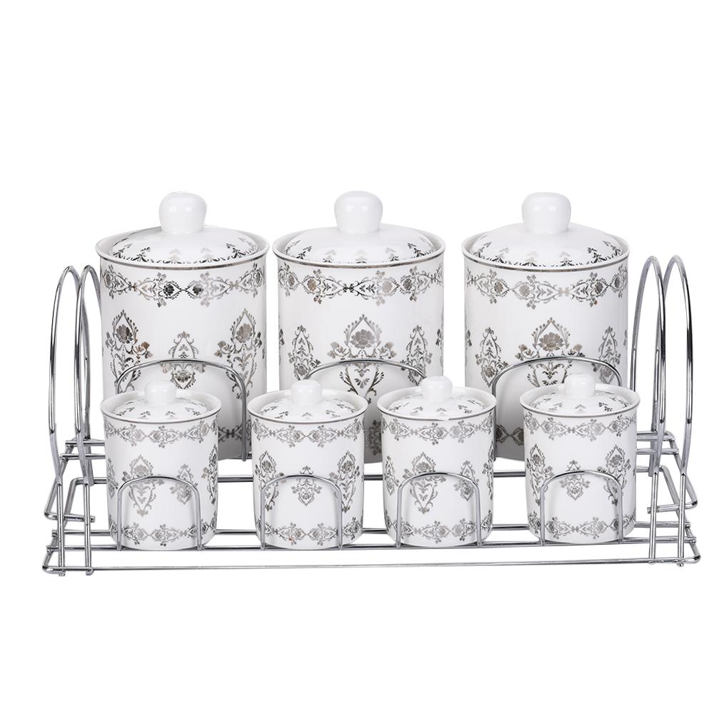 Silver Platinum Design Ceramic Kitchen Canister Sets Tea Coffee Sugar Canisters Set With Stainless Steel Rack Buy Kitchen Canister Sets Ceramic Tea Storage Jar Food Storage Jar Product On Alibaba Com