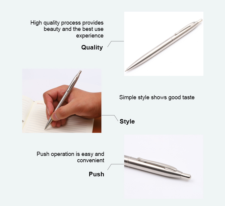 Design shinny glossy luxury stainless steel pocket slim ballpoint hotel metal pen signature