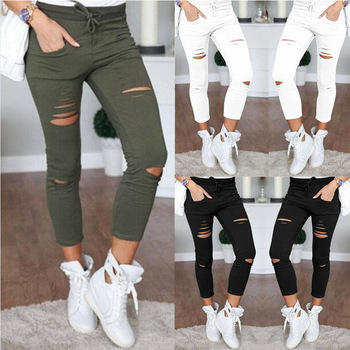 Female Hole Slim Stretch Drawstring Trousers Women  Ripped Leggings Pants Plus Size Nine Pencil Pants