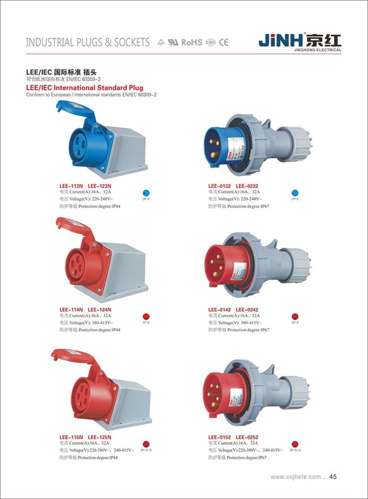 AC 240V-415V 63A IP67 3P+N+E 5-Terminal Male Industrial Electrical Plug