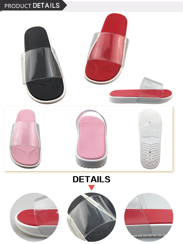 Latest Lady Flat Slide Sandal Custom Logo Transparent Woman Slipper