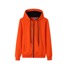 Casual zipper designer sweatshirt orange polyester hoodie