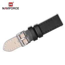 NAVIFORCE ремешок для часов из искусственной кожи, темно-коричневый, черный, синий, 23 мм, из нержавеющей стали(Китай)