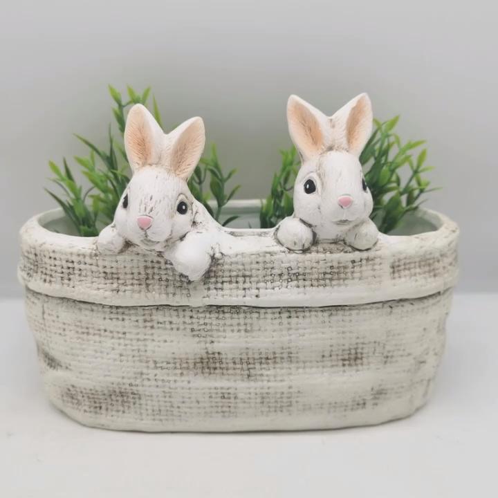 Amazon best sale Easter cute animal cartoon animal bunny  rabbit plant pot for Easter  Painted ceramic cute animal  flower pot